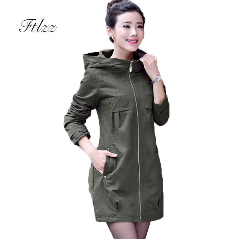 Medium Long Plus Size 4xl Trench Coat Women New 2019 Spring Autumn Hooded Zipper Loose Korean Style Windbreaker Green Outerwear
