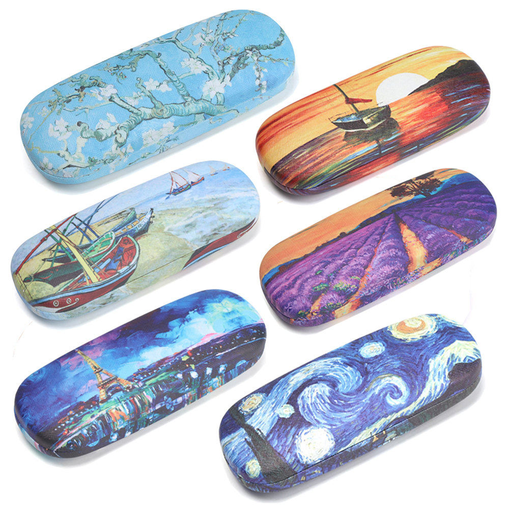 2019 Oil Painting Art Glasses Case Box Hard Leather Reading Glasses Case Retro Floral Print Eyewear Protector Glasses Holder