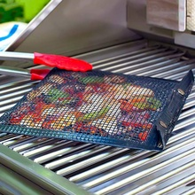 BBQ Grill Mesh Bag, Non-Stick BBQ Grill Bag Grill Reusable and Easy To Clean Non-Stick Grid Grill Bag with Oil Brush (3 Packs) гриль барбекю steba vg 250 bbq grill