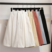 Women Casual High Waist A Line Skirts Girls Cotton Candy color Solid Color Fashion with Two pocket Design 1pc