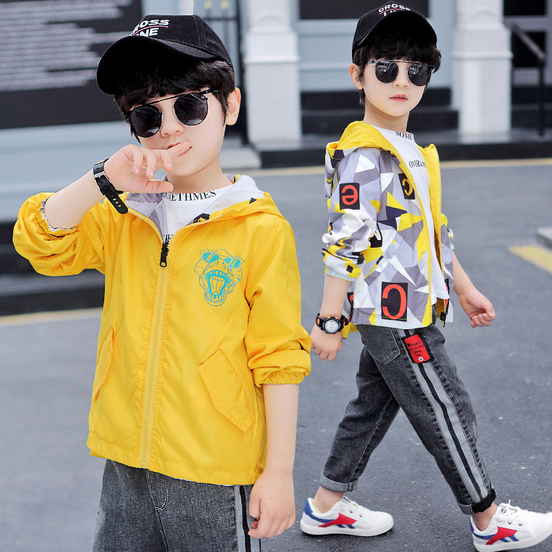 Childrenswear BOY'S Spring Clothing Coat 2020 New Style Spring And Autumn Big Boy Korean-style Jacket Boy Double-sided Wear Fash