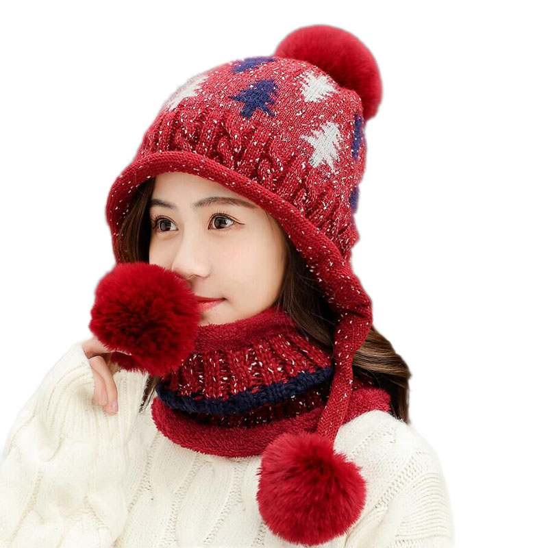 BINGYUNAHAOXUAN New Winter Women Knitted Hat Scarf Female Warm Hat Scarf Set Fashion Wool Thickening Hat Set Casual Snow Caps