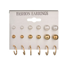 9 Pairs/Set Fashion Circle Simulated Pearl Stud Earrings For Women Girl Boho Clip Cuff Earring Set Wedding Bride