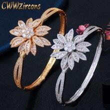 CWWZircons Luxo Cubic Zirconia Pave Big Geométrica Flor Folha Dubai Ouro Bangle para Mulheres Jóias Wedding Party BG038 Naija
