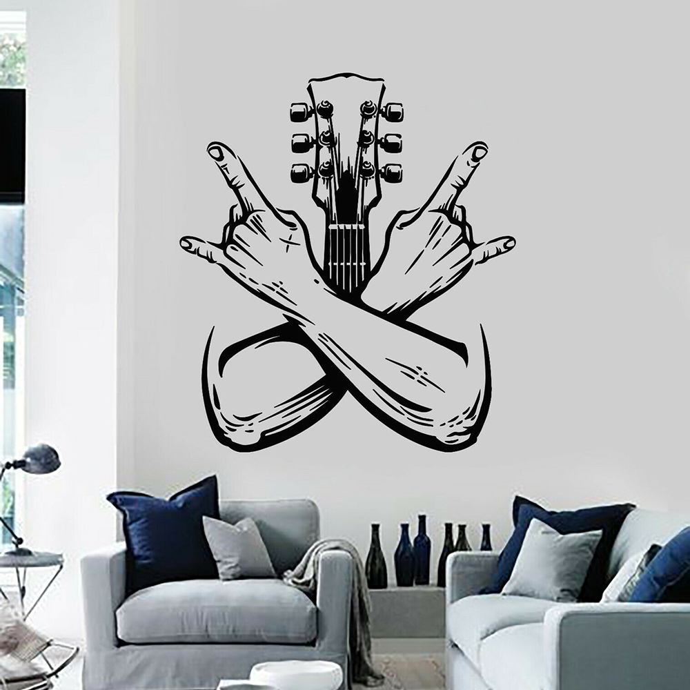 Guitarist Wall Decal Band Rock Music Guitar Instrument Door Window Vinyl Sticker Cool Style Bedroom Music Studio Home Decor E126 1