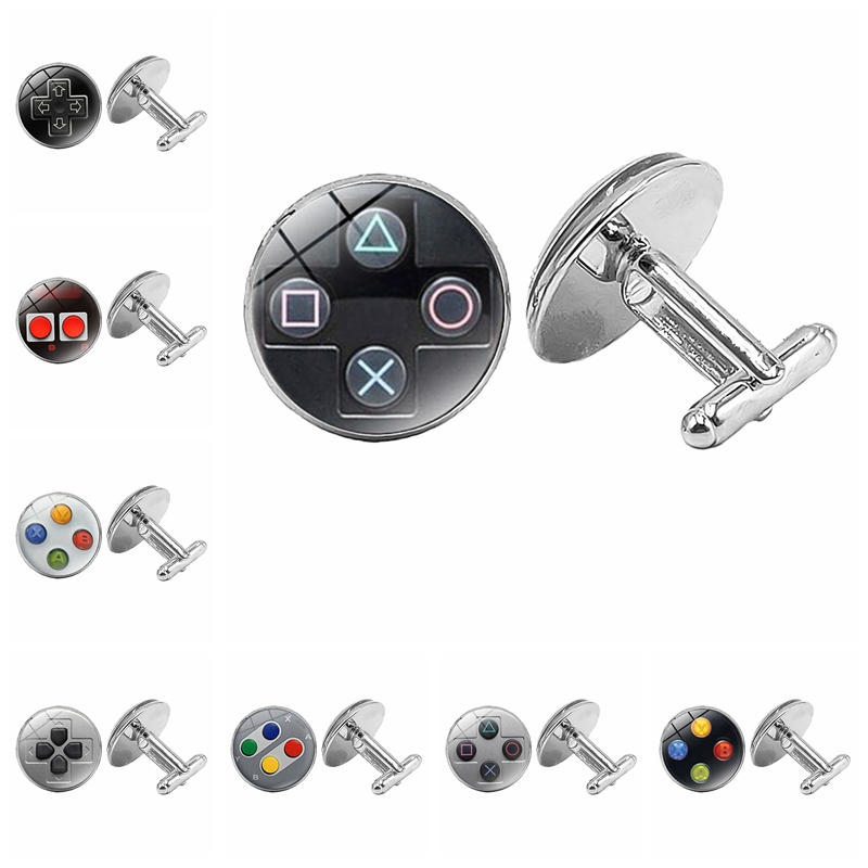 2019 New Hot Game Controller Mode Silver Glass Cabochon Silver Cufflinks Men's Gift Cufflinks Jewelry