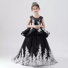 Flower Girl Dresses Illusion Crystal Embroidery Sleeveless O-Neck Princess Floor-Length Tulle Luxury Black Kids Party Gown H537