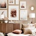 Dahlia Flower Calm Beach, Золотой закат, тростниковая трава, скандинавский плакат, настенный художественный принт, холст, живопись, Декор, картинки для ...