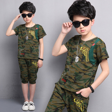 цена на Children Clothing Summer Boys Clothes Camouflage Short Sleeves T-Shirt+Shorts Suits Boys Clothing Sets 4 6 7 8 9 10 11 12 Years