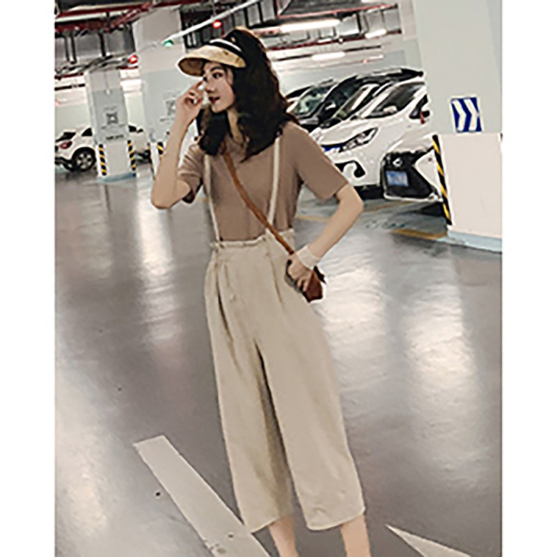 Women's Womens Clothing Two Piece Sweatsuit Fashion Casual Set O-neck Solid Top And Calf-length Overalls Set Conjuntos