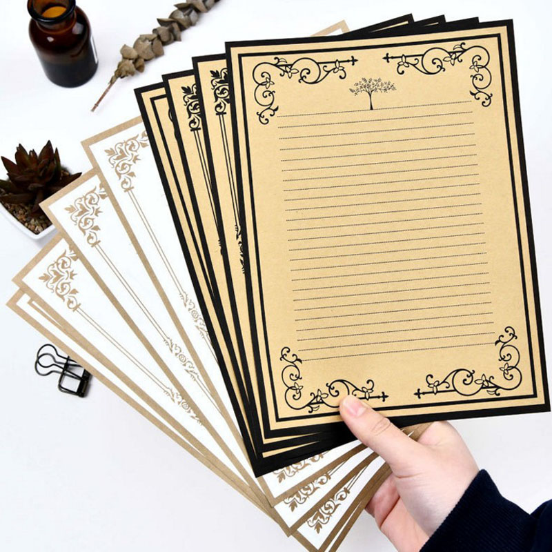 8Pcs/pack Hot Sale European Vintage Style Writing Paper Stationery Kraft Paper Retro Letter Paper