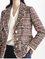 Lapel Chic Pockets Tweed Blazer Woman Single breasted Vintage Retro Style Blazer Feminino Fashion Casual Slim Autumn Jacket
