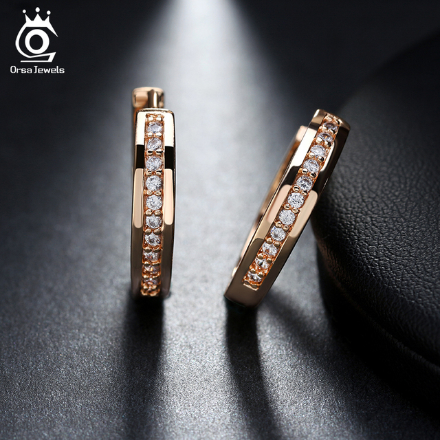 ORSA JEWELS New Trendy Champagne Gold Color Silver Color Cubic Zirconia Simple Item Female Earrings Hoop.jpg 640x640 - ORSA JEWELS New Trendy Champagne Gold-Color&Silver Color Cubic Zirconia Simple Item Female Earrings Hoop Jewelry for Women OME34