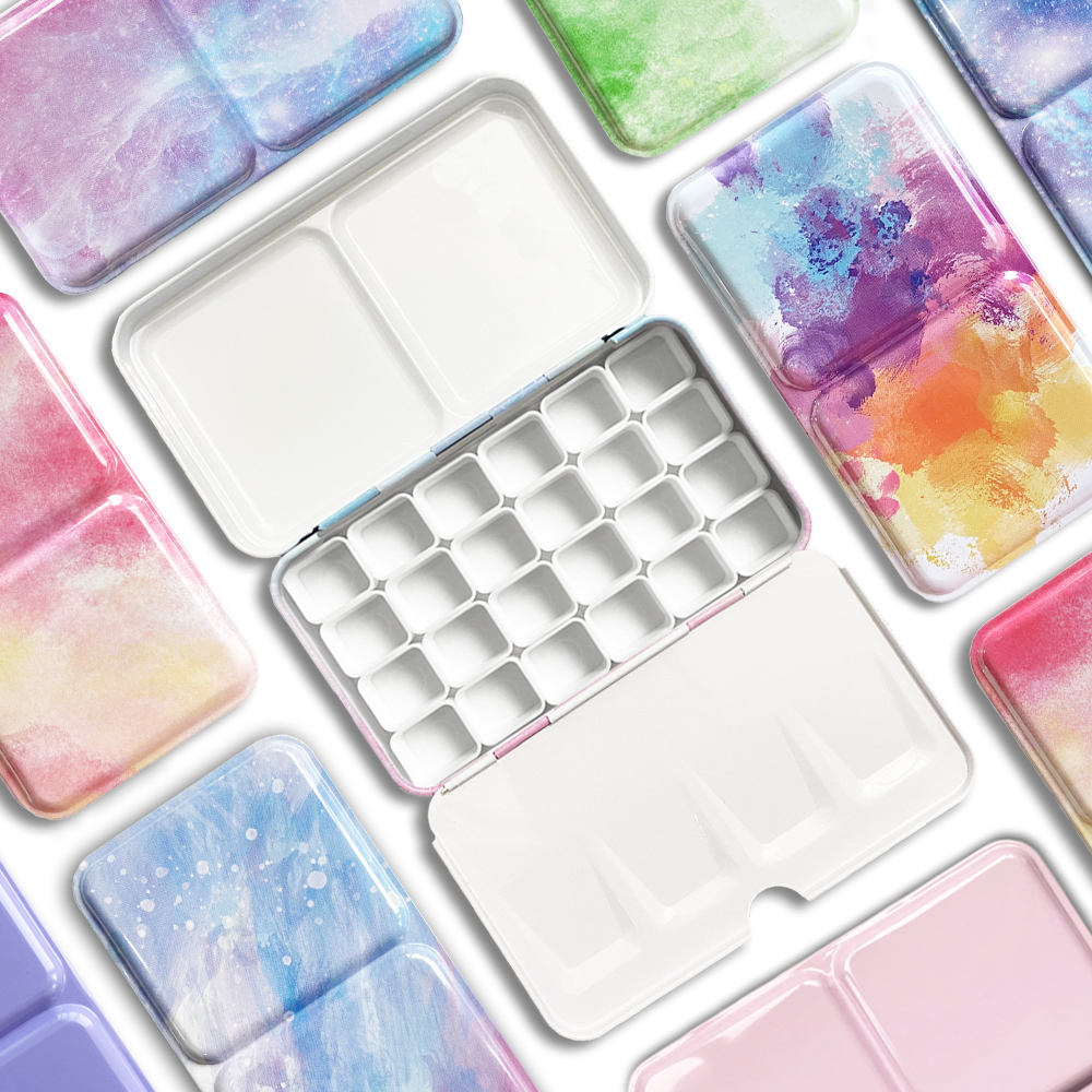 Cute 24/26Pcs Half Pans Watercolor Oil Paints Tins Box Empty Palette Painting Storage Paint Tray Box For Art Painting Supplie