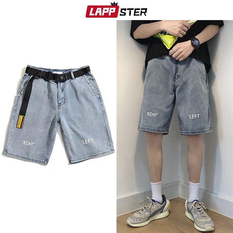 LAPPSTER Men Streetwear Blue Jeans Shorts Summer 2020 Free Belt Harajuku Hight Waist Jogger Mens Korean Fashions Denim Shorts