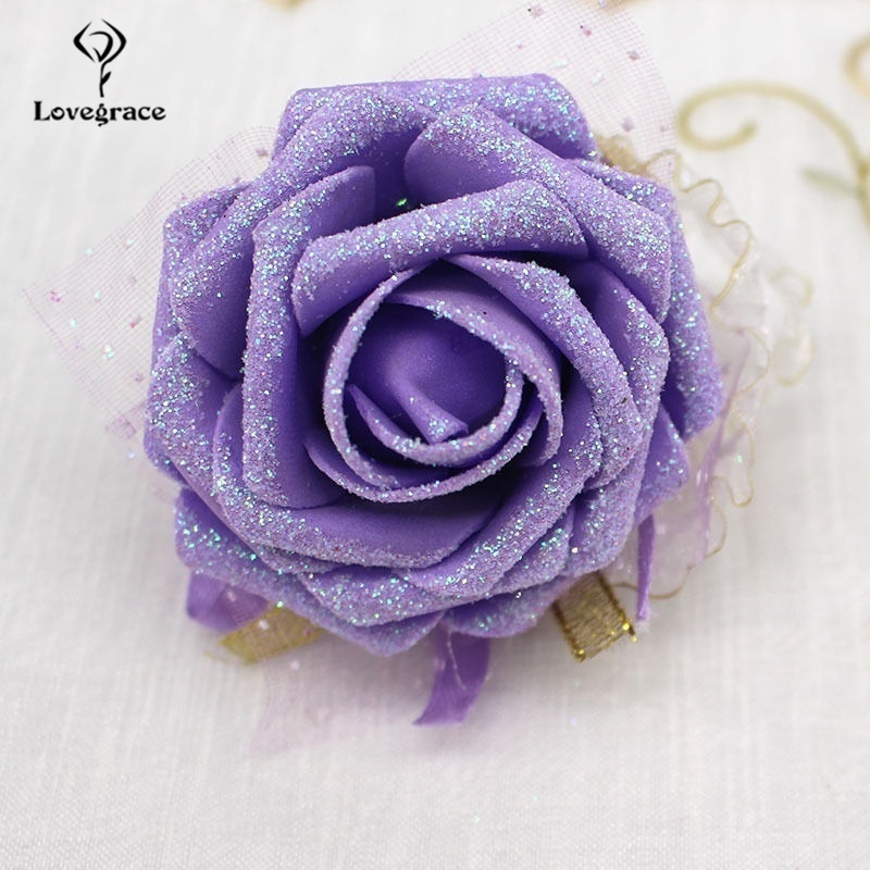Lovegrace Wrist Corsage Bridesmaid Sister Wedding Hand Flower Shining Artificial Rose Flower Party Prom Wedding Girl Bracelet