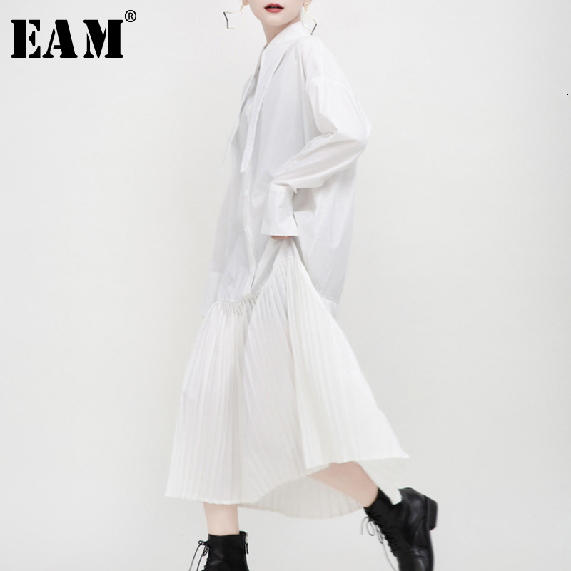 [EAM] Women Black Pleated Split Joint Temperament Shirt Dress New Lapel Long Sleeve Loose Fit Fashion Spring Autumn 2020 1N038