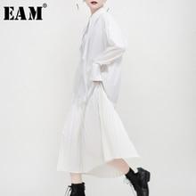 [EAM] Delle Donne di Nero A Pieghe Split Comune Temperamento Camicia di Vestito Nuovo Risvolto Manica Lunga Loose Fit Molla di Modo di Autunno 2020 1N038