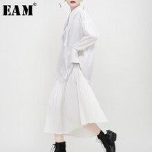 [Eam] feminino preto plissado divisão conjunta temperamento camisa vestido nova lapela manga longa solto ajuste moda primavera outono 2020 1n038