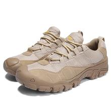 купить Men Outdoor Big Size 39-47 Casual Sneakers Mesh Low Boot Desert Tactical Military Boots Non-slip Wear Climbing Mountain Shoes дешево