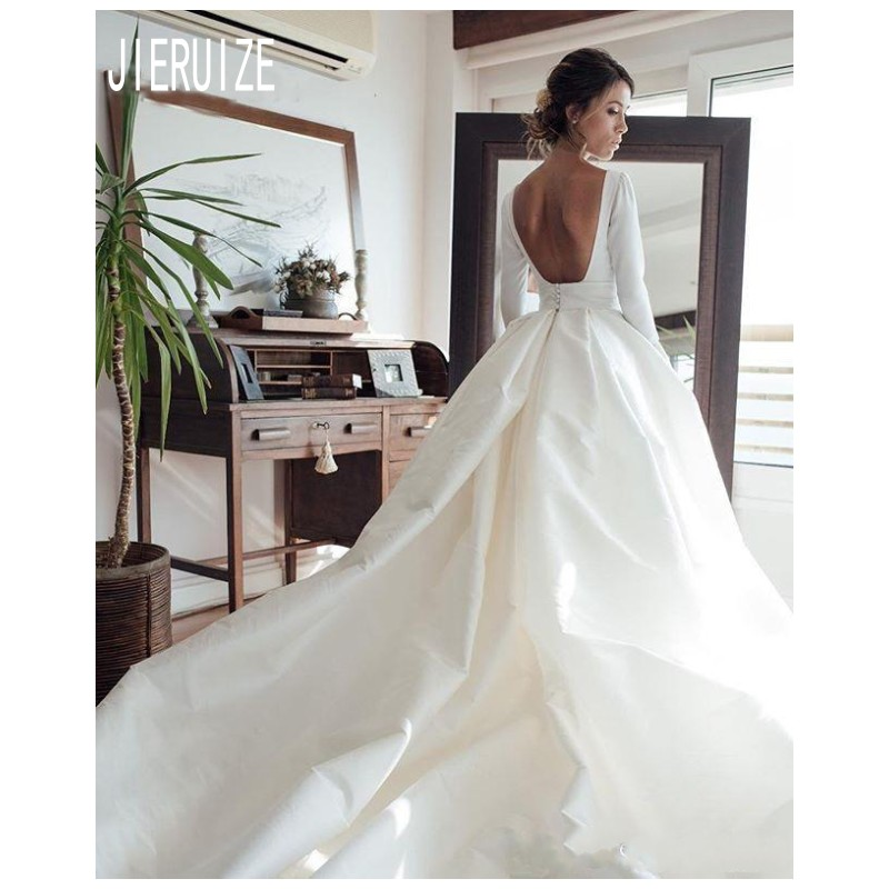 JIERUIZE Simple Vintage Wedding Dresses Long Sleeve Scoop Neck Backless Ivory White Satin Retro Bridal Gowns Robe De Mariee