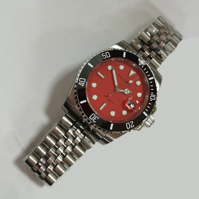 Parnis 40mm Red Dial Mechanical Automatic Watch Men Steel Bracelet Black Ceramic Bezel Miyota 8215 Movement Mens Watches 2020