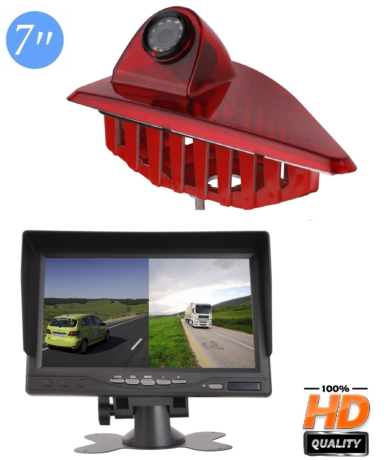 3RD Brake Light Rear View Backup Parking Reversing Camera With 7 Inch LCD Monitor Kits for Transporter OPEL Movano B Renault Master III 2010-2019 Nissan NV400