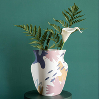 Kraft paper vase ornaments Two sided different patterns Dried flower vases Crafts nterpieces home decoration Washable
