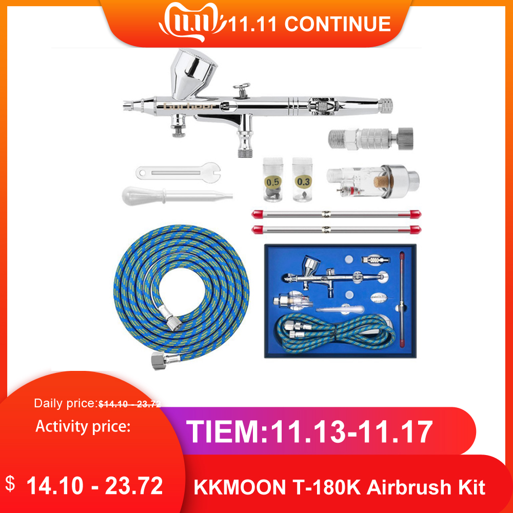 Dual Action Gravity Feed Airbrush Kit With 1.8m Hose 0.3mm/0.5mm Needle 9cc Cup Air Brush Spray Gun For Art Painting Manicure