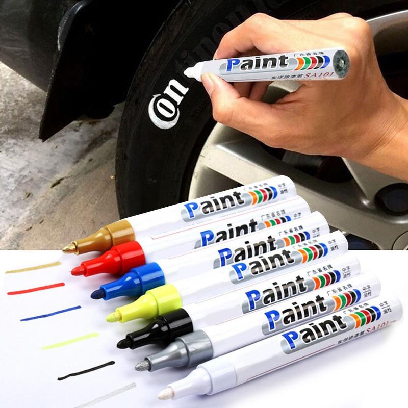White Waterproof Car Wheel Tire Oily Mark Pen Auto Rubber Tyre Paint Pen CD Metal Permanent Paint Marker Graffiti Touch Up Pen