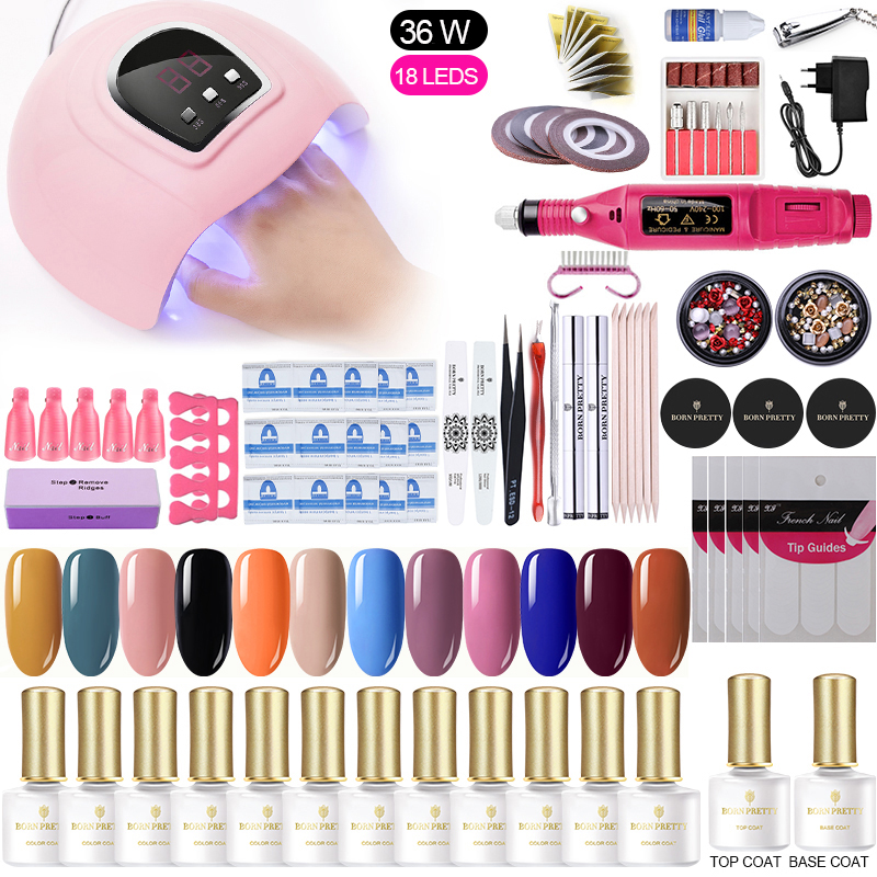 24w/30w/36w UV LED Lamp Nail Set Soak Off Gel Varnish Choose 12/10 Colors Nail Polish Set Top Coat  Set Nail Art Set