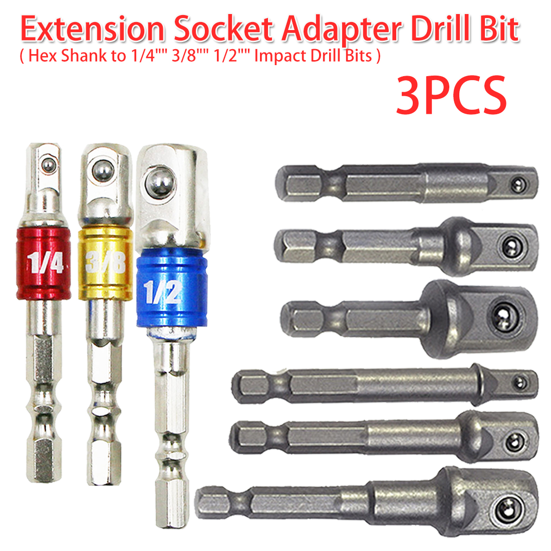 "Drill Socket Adapter 3pcs For Impact Driver With Hex Shank To Square Socket Drill Bit Bar Extension Set 1/4"" 3/8"" 1/2"" 50mm-72mm"