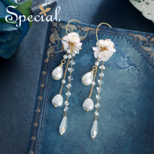 The SPECIAL Brand  long earrings ,tassel flower earrings ,slimming earrings for women shadow of flower S2376E a suit of graceful solid color flower necklace and earrings for women