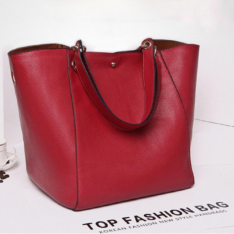 Image 4 - Real Genuine Leather Women Shoulder Bag High Quality Designer Leather Handbag Female Big Tote Ladies Hand Bags for women 2019-in Shoulder Bags from Luggage & Bags