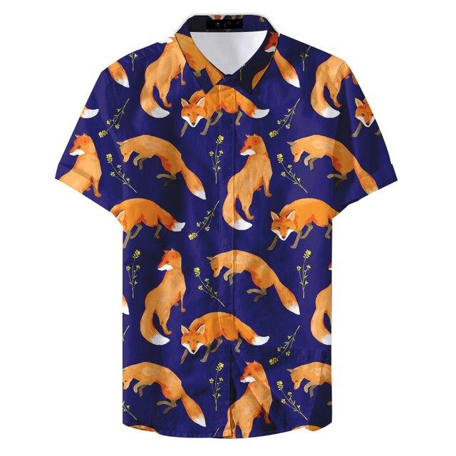 2019 Summer Man Floral Colorful Cute Fox Printed Casual Shirt Men's Fashion