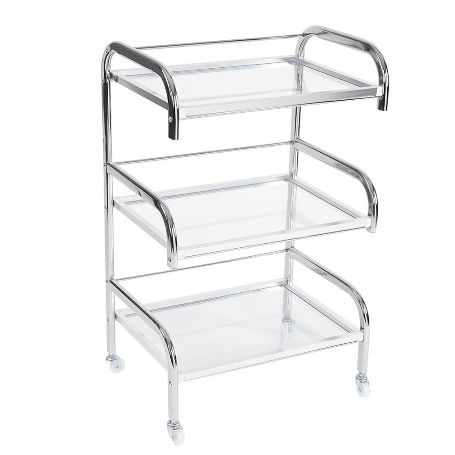 Professional Electroplated Tempered Glass Rolling Wheel Storage Rack Beauty Trolley Cart Hair Salon Tool