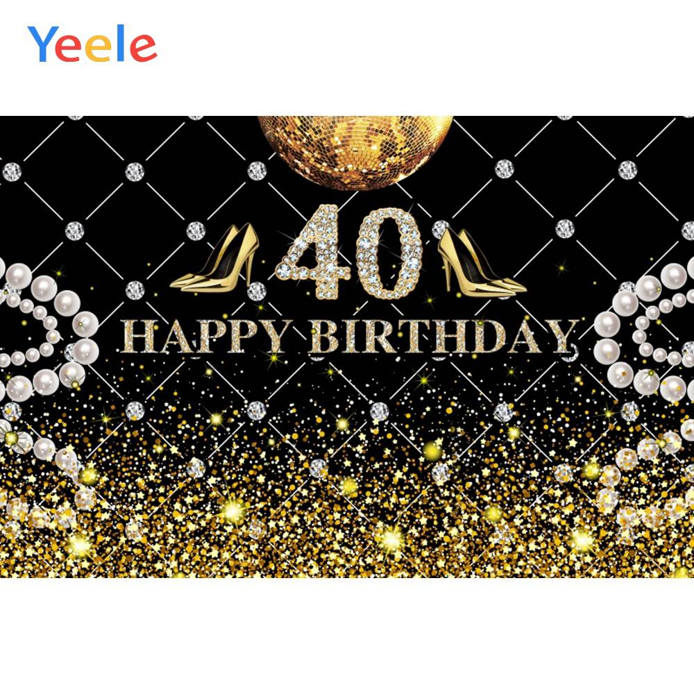 Yeele <font><b>40th</b></font> 50th <font><b>Birthday</b></font> Party Decor Glitter Retro Photography <font><b>Backdrops</b></font> Personalized Photographic Backgrounds For Photo Studio image