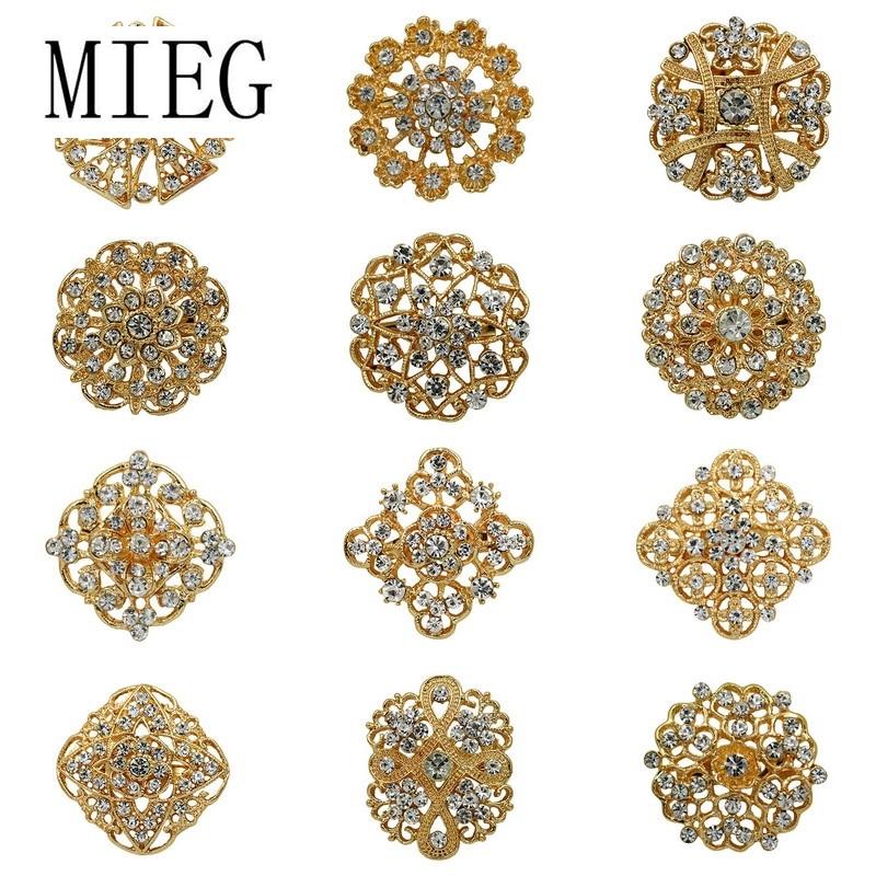 Lote 12pc Mista Cor de Ouro Limpar Rhinestone Cristal Flor Broche Pinos para Broche de Casamento Buquês de Noiva Set