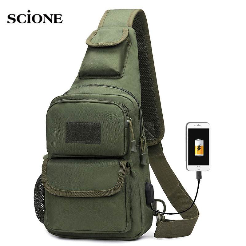 Mens Military Camping Tactical Crossbody Bag Travel Shoulder Sling Chest Bags