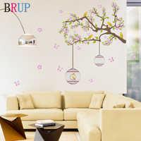 Romântico Rosa Flor Árvore Adesivos de Parede Birdcage Home Decor Borboleta Casa Decoração Arte Stikers Muraux Quarto Decor Removível