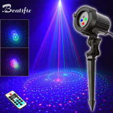 Outdoor Christmas Lights RGB Laser Projector Motion 32 Patterns Holiday Festoon Lantern Light New Years Garland Decor