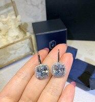 Hot brand 925 sterling jewelry wedding earrings for women square H earrings jewelry famous brand hoop earings