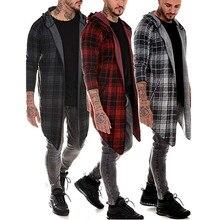 Длинное Мужское пальто, готический Тренч, мужской кардиган, тонкий длинный плащ, свитер с капюшоном, вязанная клетчатая модная куртка, осень, стимпанк