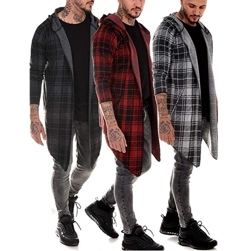 long coat men gothic   trench   coat men cardigan slim long cloak sweater hooded Knitted plaid fashion jacket autumn steampunk