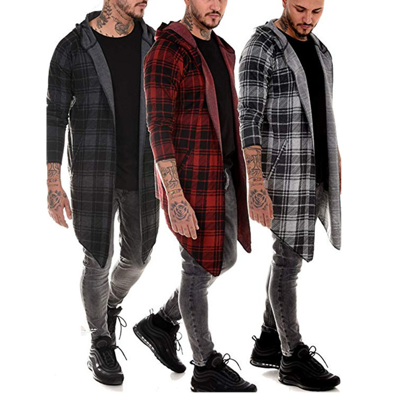 Long Coat Men Gothic Trench Coat Men Cardigan Slim Long Cloak Sweater Hooded Knitted Plaid Fashion Jacket Autumn Steampunk T