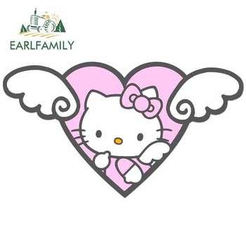 EARLFAMILY 13cm x 7.1cm for Hello Kitty Angel Cartoon Graphics Car Sticker JDM Motorcycle Decal Vinyl Window Bumper Car Styling car stying baseball softball heartbeat lifeline car styling car sticker vinyl graphics decals jdm
