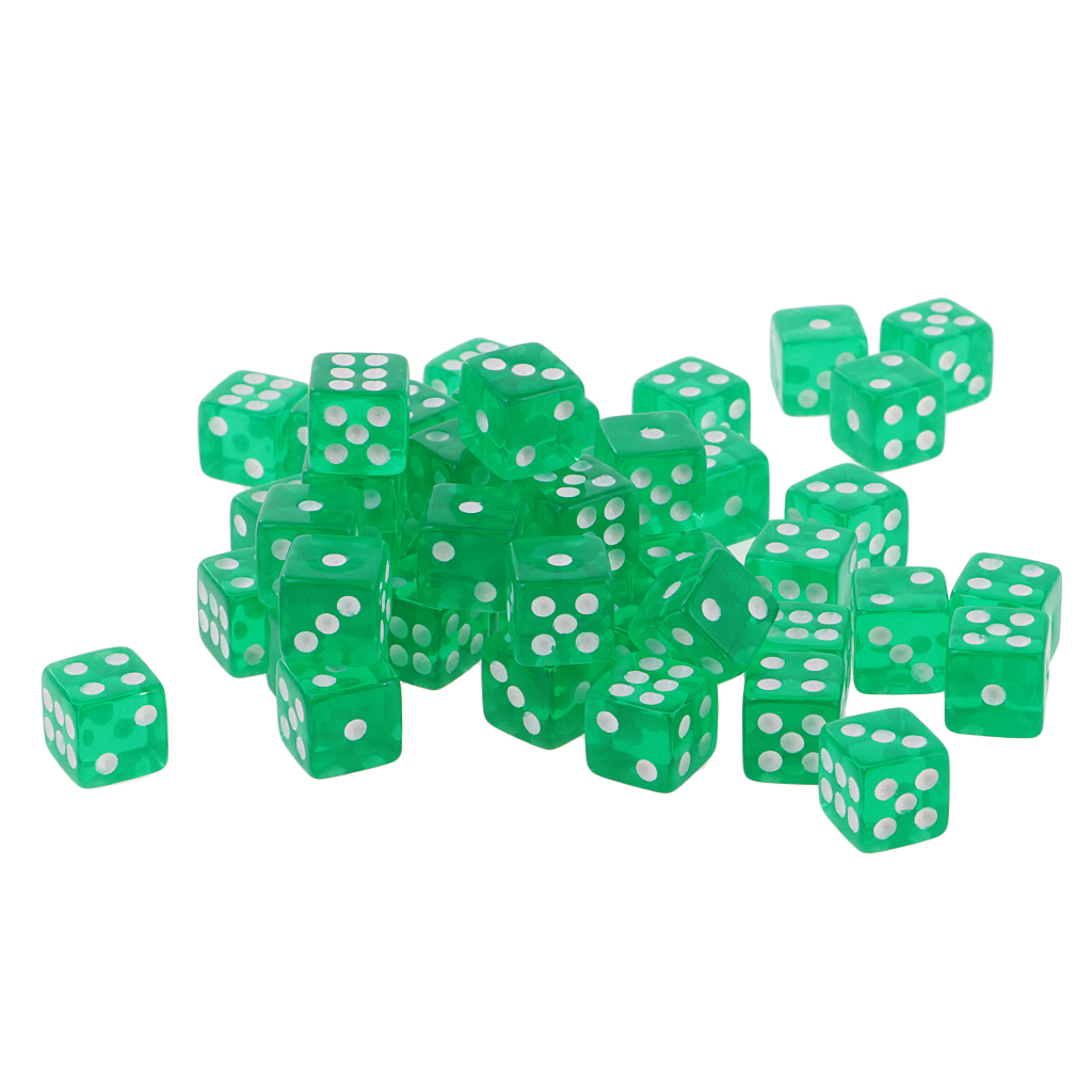 50X 6 Sided <font><b>Dice</b></font> <font><b>D6</b></font> Polyhedral <font><b>Dice</b></font> 12mm For Dungeons And Dragons <font><b>Green</b></font> New image