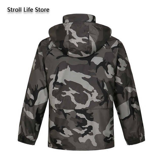 Camouflage Adults Motorcycle Raincoat Men Waterproof Suit for Fishing Male Waterproof Suit for Fishing Hiking Capa De Chuva Gift 1
