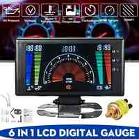 Car 6 in 1 LCD Car Digital Gauge Oil Pressure Voltage Water Temperature Oil Temperature Tachometer RPM 8-18V
