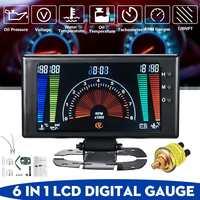 Carro 6 em 1 lcd carro digital medidor de pressão de óleo tensão temperatura da água temperatura do óleo tacômetro rpm 8 18 v|Tacômetros|   -